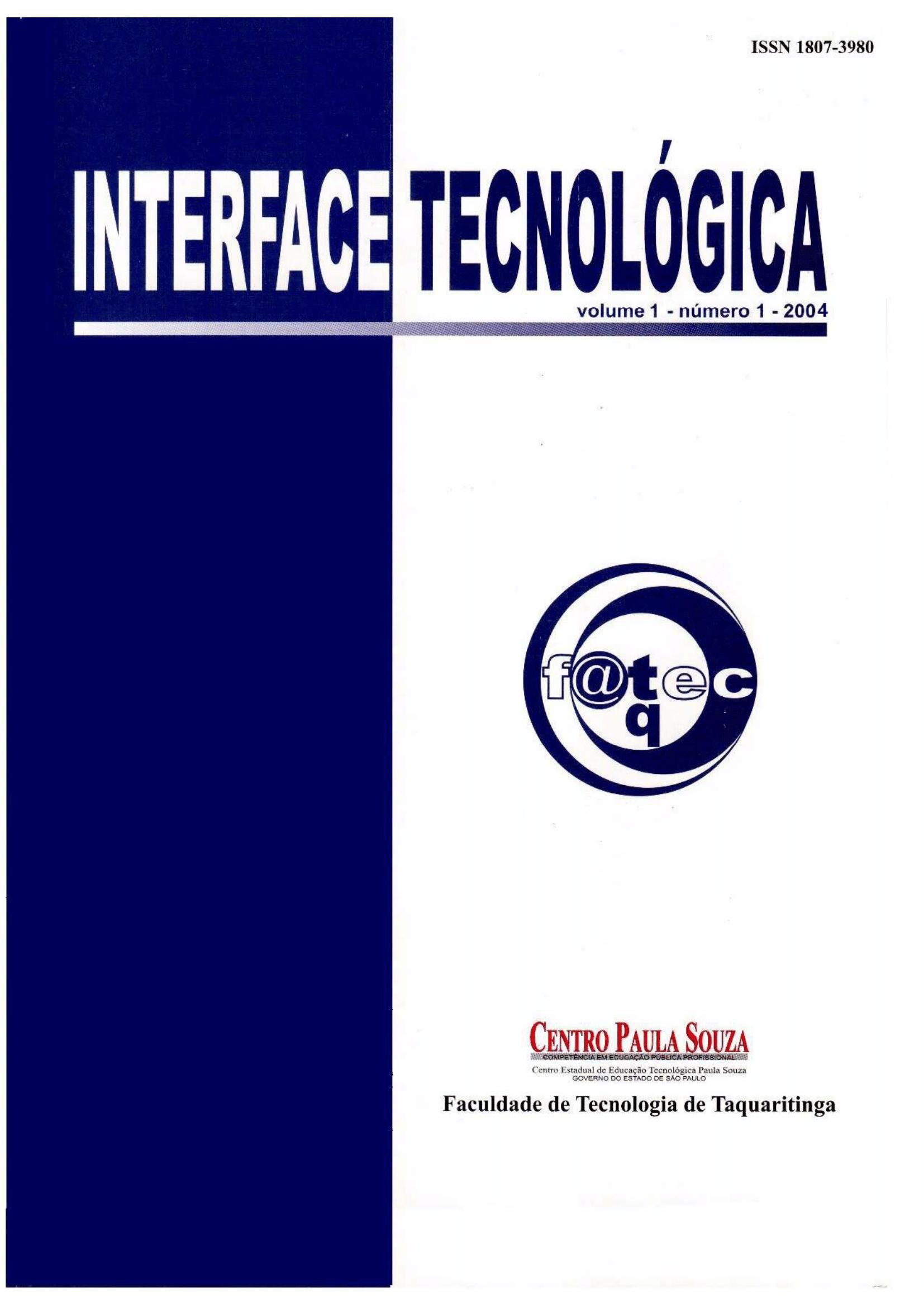 Visualizar v. 1 n. 1 (2004): Revista Interface Tecnológica